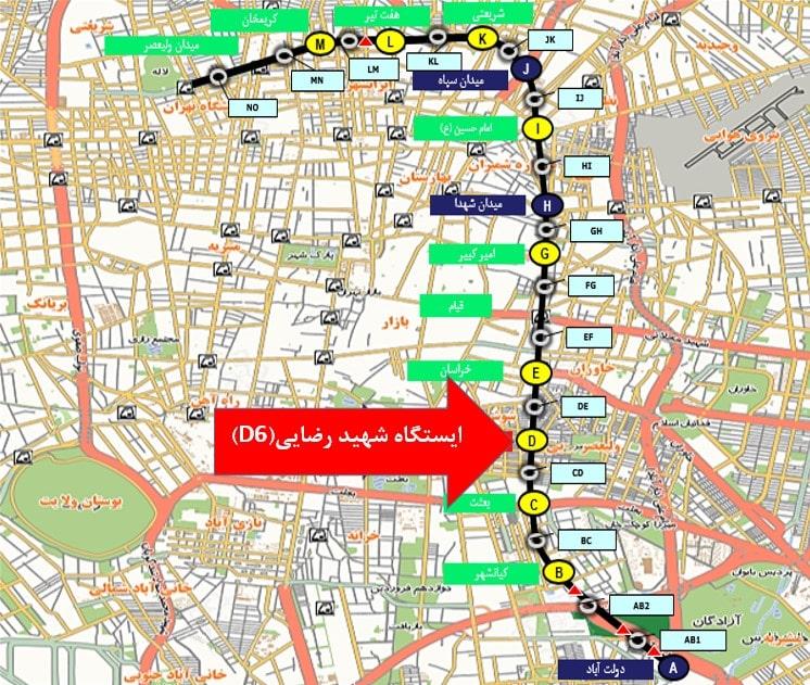 نقشه جانمایی ایستگاه شهید رضایی