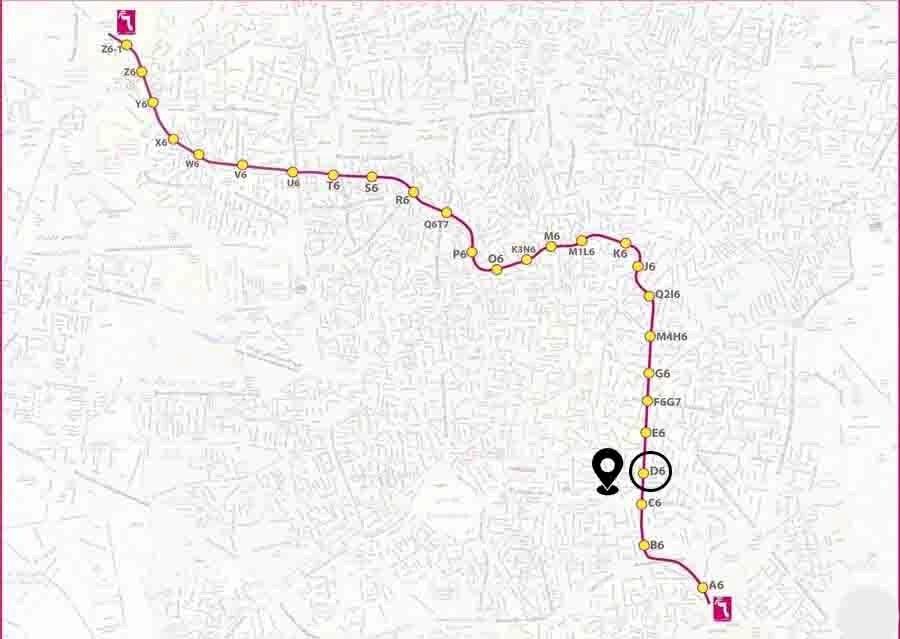 Location map of Shahid Rezaei station