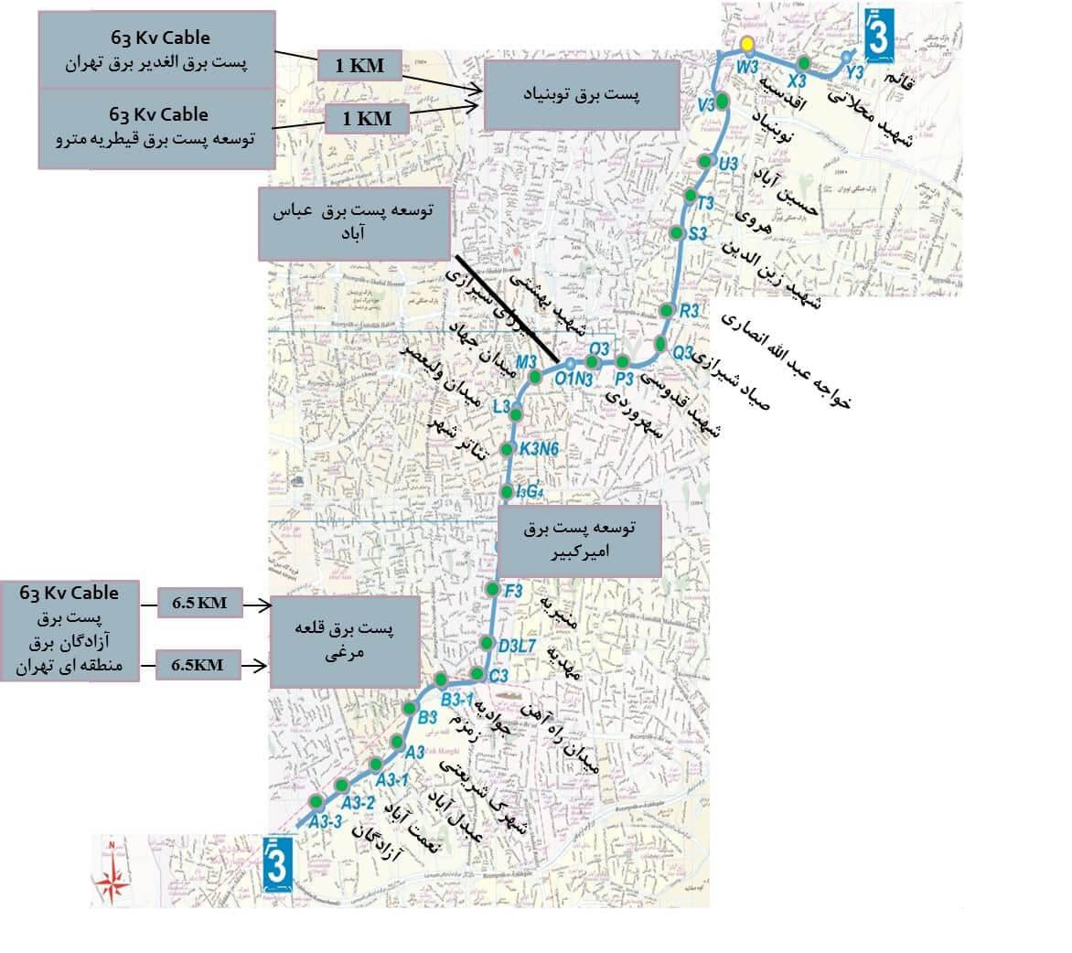 نقشه خط3 متروی تهران